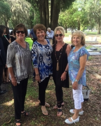 At the graveside of our dear classmate, Susan White Vella. Sandra Leitner Smith, Barbara Bone Franques, Pec Chambers McG